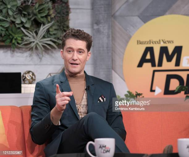 "Matthew Morrison visits BuzzFeed's ""AM To DM"" on March 13, 2020 in New York City."