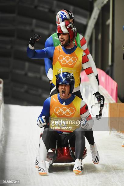 Matthew Mortensen and Jayson Terdiman of the United States celebrate after a run during the Luge Team Relay on day six of the PyeongChang 2018 Winter...