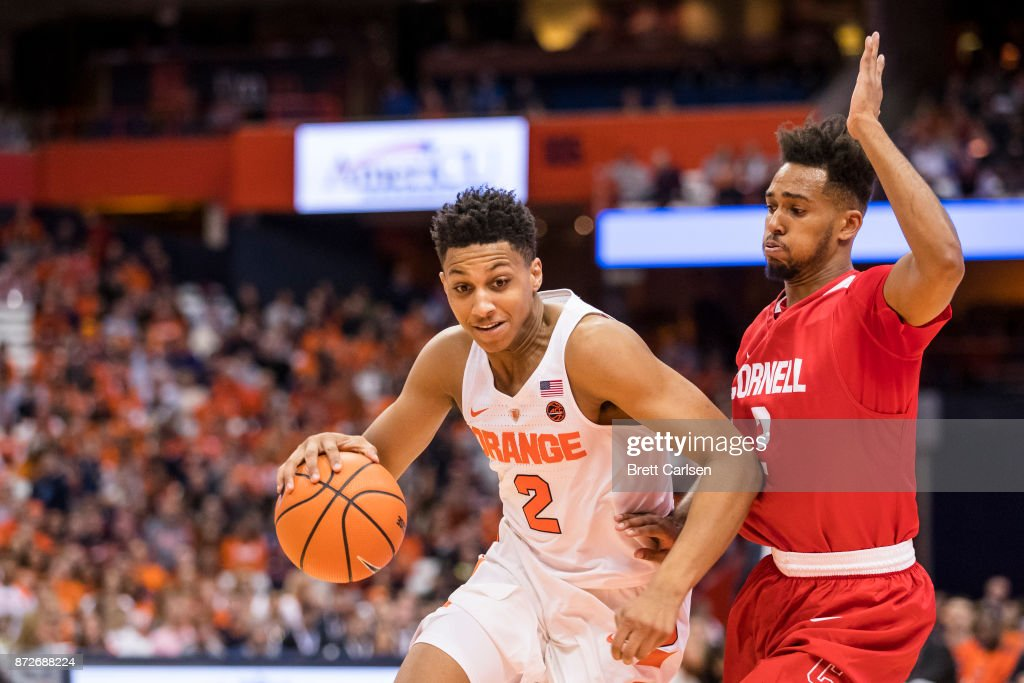 Matthew Moyer #2 of the Syracuse Orange drives to the basket against Wil Bathurst #2 of the Cornell Big Red during the first half at the Carrier Dome on November 10, 2017 in Syracuse, New York. Syracuse defeats Cornell 77-45.