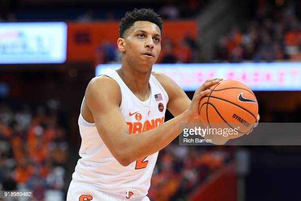 Matthew Moyer of the Syracuse Orange shoots a free throw against the North Carolina State Wolfpack during the first half at the Carrier Dome on...