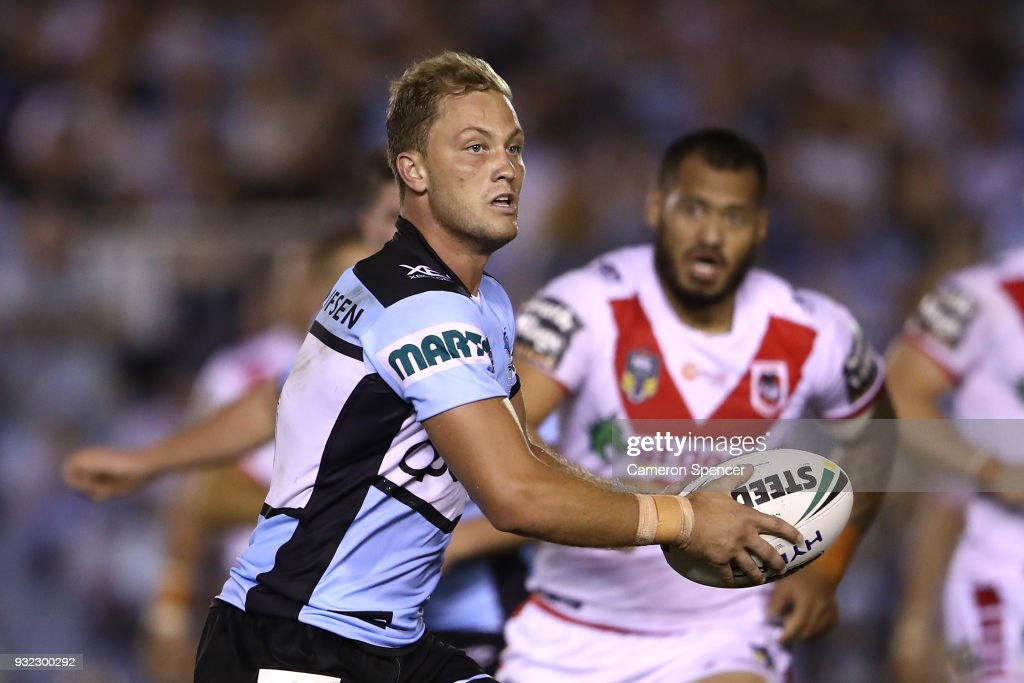 Matthew Moylan of the Sharks runs the ball during the round two NRL match between the Cronulla Sharks and the St George Illawarra Dragons at Southern Cross Group Stadium on March 15, 2018 in Sydney, Australia.