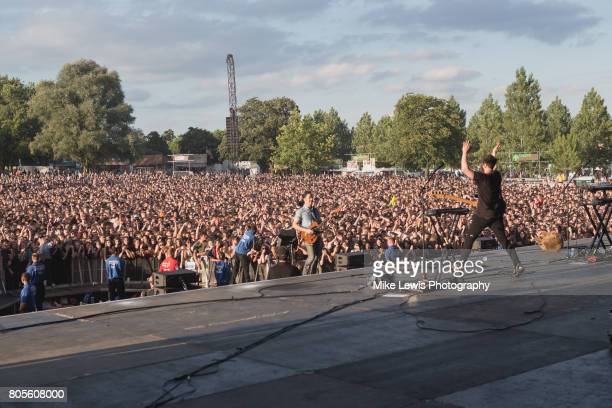 Matthew Murphy and Tord Overland of The Wombats perform on stage at Community Festival at Finsbury Park on July 1 2017 in London England