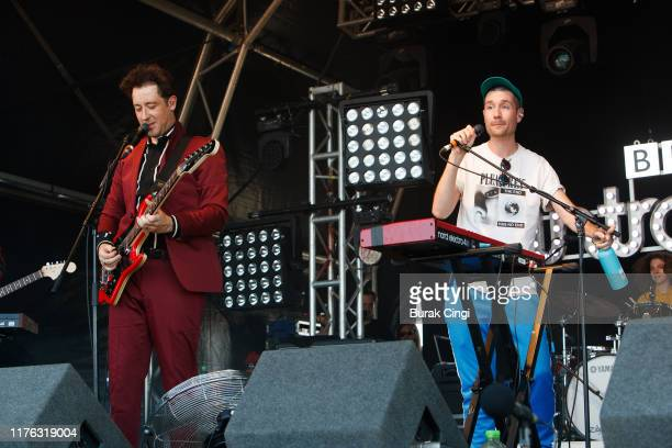 Matthew Murphy of Love Fame Tragedy and Dan Smith of Bastille perform live on the BBC Introducing Stage during day three of Reading Festival 2019 at...