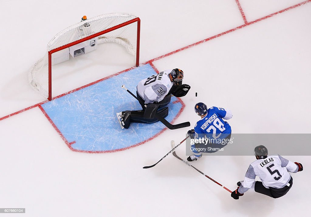 Matthew Murray #30 of Team North America makes a first-period save while playing Team Finland during the World Cup of Hockey at the Air Canada Center on September 18, 2016 in Toronto, Canada. Team North America won the game 4-1.