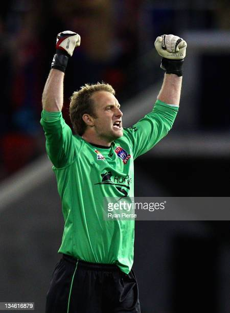 Matthew Nash of the Jets celebrates after his team scored their third goal during the round nine A-League match between the Newcastle Jets and the...