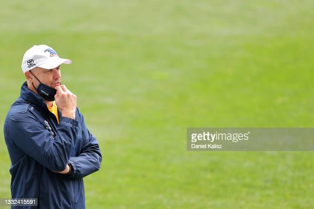 Matthew Nicks, head coach of the Crows looks on during an Adelaide Crows AFL training session at Adelaide Oval on August 05, 2021 in Adelaide,...