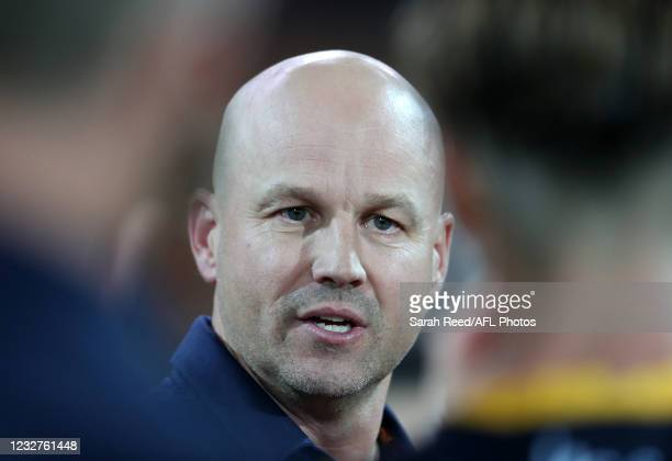 Matthew Nicks, Senior Coach of the Crows at 3 quarter time during the 2021 AFL Round 08 match between the Port Adelaide Power and the Adelaide Crows...