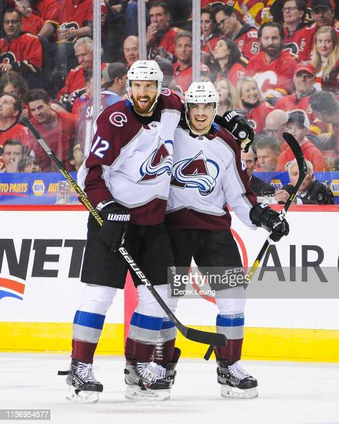 Matthew Nieto of the Colorado Avalanche celebrates after scoring against the Calgary Flames in Game Two of the Western Conference First Round during...