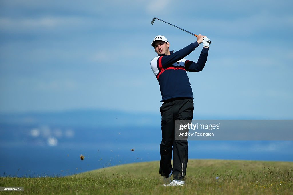 Matthew Nixon of England hits his second shot on the 13th hole during the first round of the Aberdeen Asset Management Scottish Open at Gullane Golf Club on July 9, 2015 in Gullane, East Lothian, Scotland.