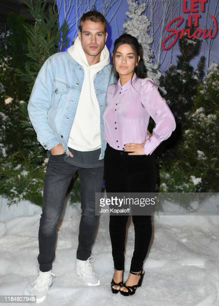 """Matthew Noszka and Odeya Rush attend the photocall for Netflix's """"Let It Snow"""" at the Beverly Wilshire Four Seasons Hotel on November 01, 2019 in..."""