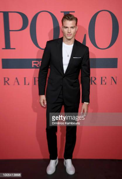 Matthew Noszka attends the Polo Red Rush Launch Party with Ansel Elgort at Classic Car Club Manhattan on July 25 2018 in New York City