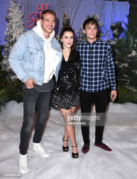 Matthew Noszka Kiernan Shipka and Mitchell Hope arrives at the Photocall For Netflix's Let It Snow at the Beverly Wilshire Four Seasons Hotel on...