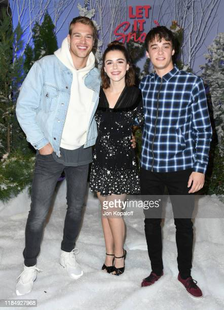 Matthew Noszka Kiernan Shipka and Mitchell Hope attend the photocall for Netflix's Let It Snow at the Beverly Wilshire Four Seasons Hotel on November...
