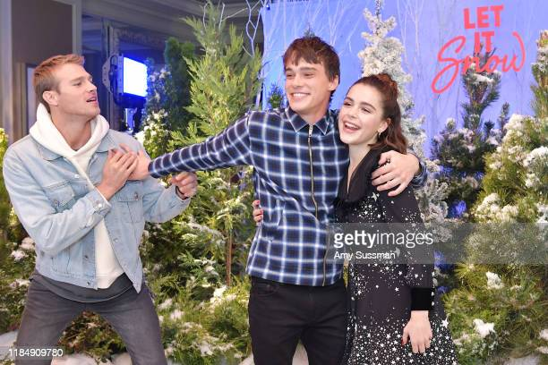 Matthew Noszka Mitchell Hope and Kiernan Shipka attend the photocall for Netflix's Let It Snow at the Beverly Wilshire Four Seasons Hotel on November...