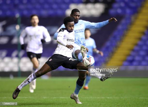 Matthew Olosunde of Rotherham United and Amadou Bakayoko of Coventry City clash during the Sky Bet Championship match between Coventry City and...