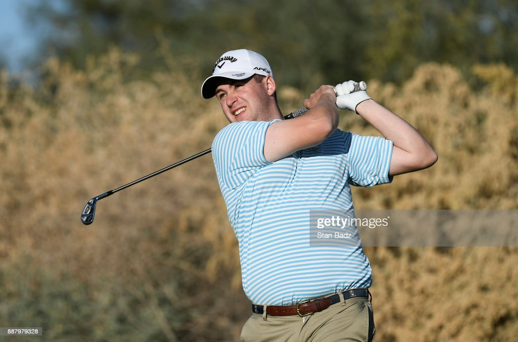 Matthew Oshrine plays a tee shot on the ninth hole during the first round of the Web.com Tour Qualifying Tournament at Whirlwind Golf Club on the Devil's Claw course on December 7, 2017 in Chandler, Arizona.