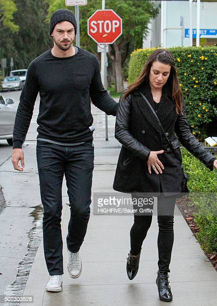 Matthew Paetz and Lea Michele are seen on December 22 2015 in Los Angeles California