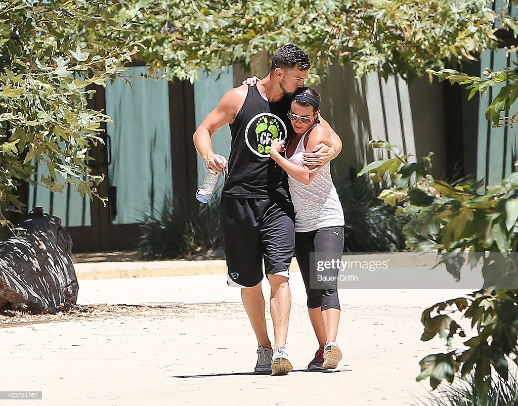 Matthew Paetz andLea Michele are seen on August 05, 2014 in Los Angeles, California.