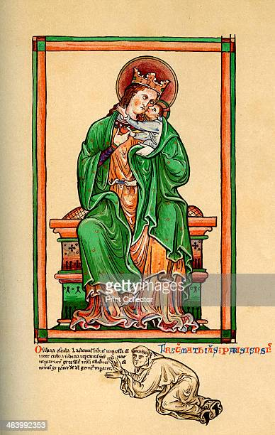 Matthew Paris at the feet of the Virgin and Child 13th century From Paris' own drawing An illustration from A Short History of the English People by...