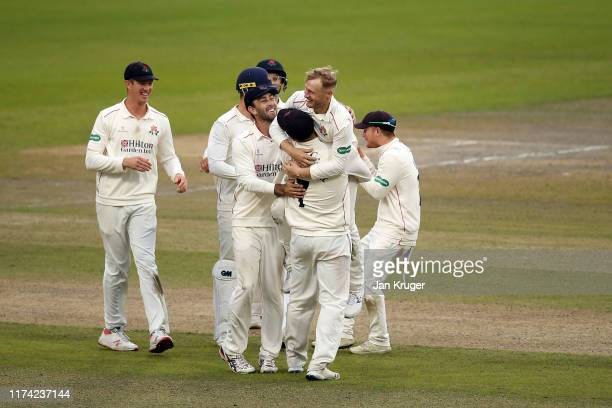 Matthew Parkinson of Lancashire celebrates the wicket of Anuj Dal of Derbyshire during day 3 of the Specsavers County Championship Division Two match...
