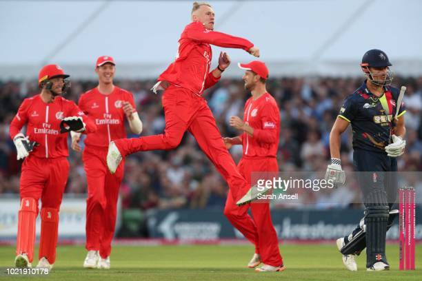 Matthew Parkinson of Lancashire Lightning leaps in celebration after dismissing Marcus Stoinis of Kent Spitfires for a duck during the Vitality Blast...