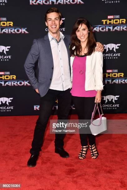 Matthew Patrick and Stephanie Patrick arrive at the Premiere Of Disney And Marvel's 'Thor Ragnarok' on October 10 2017 in Los Angeles California