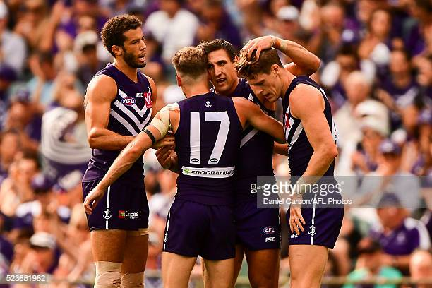 Matthew Pavlich and Hayden Crozier of the Dockers celebrates a goal during the 2016 AFL Round 05 match between the Fremantle Dockers and the Carlton...