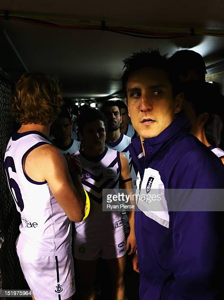 Matthew Pavlich of the Dockers leads his team out before the AFL Second Semi Final match between the Adelaide Crows and the Fremantle Dockers at AAMI...