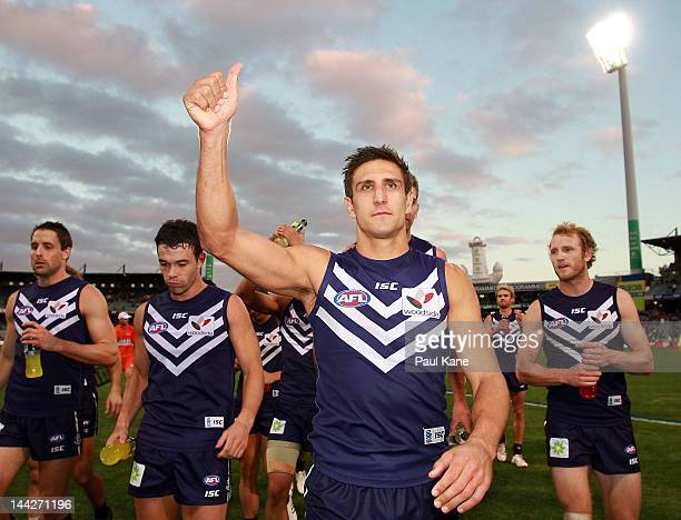 Matthew Pavlich of the Dockers leads the team from the field after winning the round seven AFL match between the Fremantle Dockers and the Port...