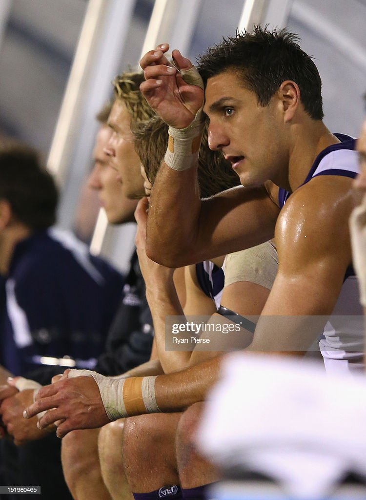 Matthew Pavlich of the Dockers looks dejected as he sits on the bench during the AFL Second Semi Final match between the Adelaide Crows and the Fremantle Dockers at AAMI Stadium on September 14, 2012 in Adelaide, Australia.