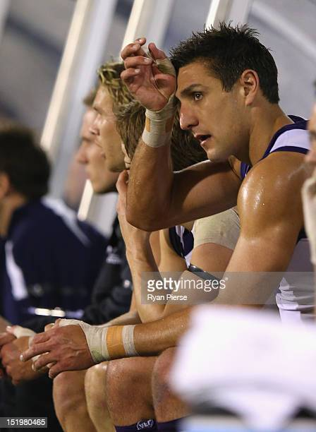 Matthew Pavlich of the Dockers looks dejected as he sits on the bench during the AFL Second Semi Final match between the Adelaide Crows and the...
