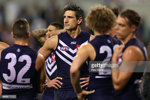 Matthew Pavlich of the Dockers looks on after being defeated during the AFL First Preliminary Final match between the Fremantle Dockers and the...