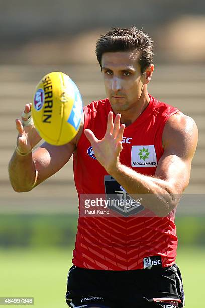 Matthew Pavlich of the Dockers marks the ball during a Fremantle Dockers AFL training session at Fremantle Oval on March 3, 2015 in Fremantle,...