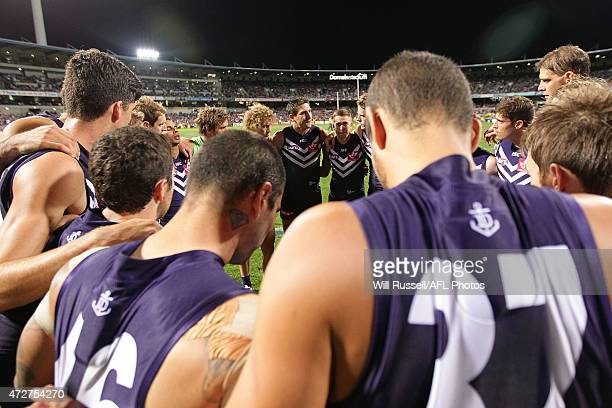 Matthew Pavlich of the Dockers speaks to the huddle during the round six AFL match between the Fremantle Dockers and the Essendon Bombers at Domain...