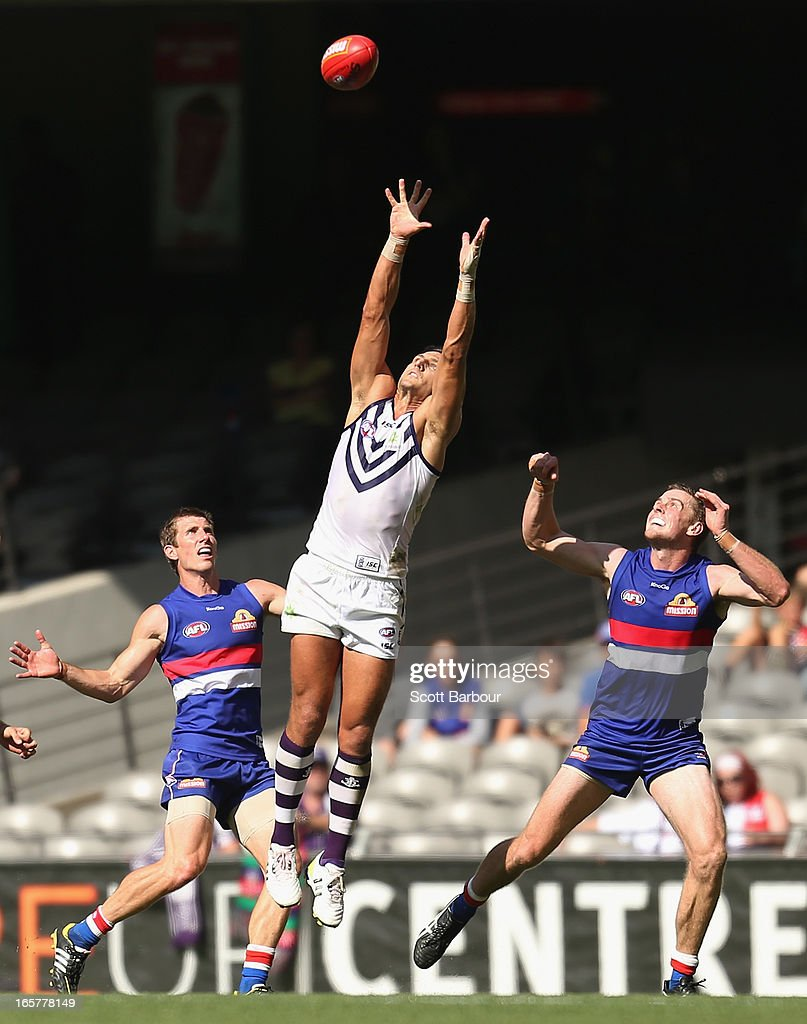 Matthew Pavlich of the Dockers takes a mark during the round two AFL match between the Western Bulldogs and the Fremantle Dockers at Etihad Stadium on April 6, 2013 in Melbourne, Australia.