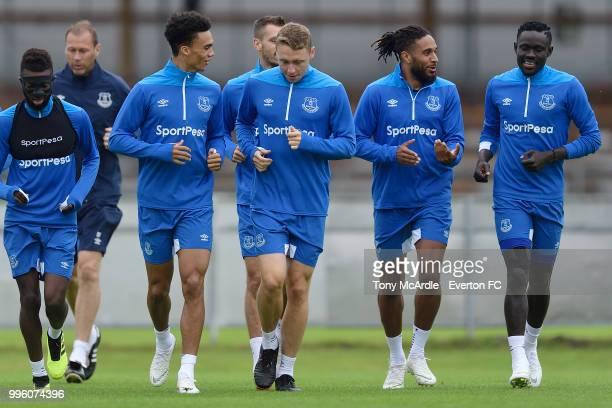 Matthew Pennington and Antonee Robinson of Everton during the Everton training session on July 11 2018 in Bad Mitterndorf Austria