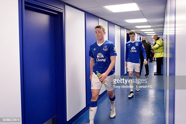 Matthew Pennington and John Stones in the tunnel after the Barclays Premier League match between Everton and AFC Bournemouth at Goodison Park on...