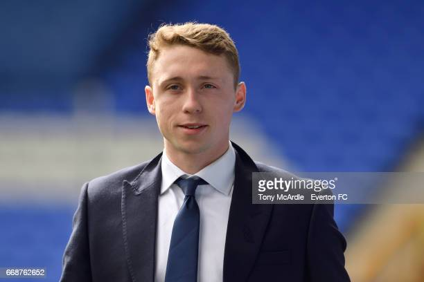 Matthew Pennington arrives before the Premier League match between Everton and Burnley at Goodison Park on April 15 2017 in Liverpool England