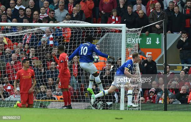 Matthew Pennington Celebrates for Everton during the Premier League match between Liverpool and Everton at Anfield on April 1 2017 in Liverpool...