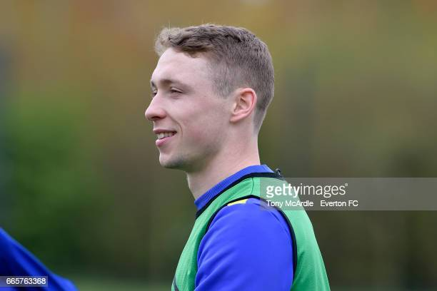Matthew Pennington during the Everton FC training session at USM Finch Farm on April 7 2017 in Halewood England