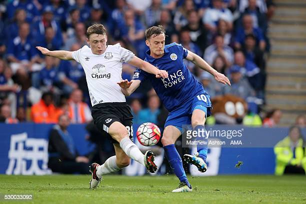 Matthew Pennington of Everton and Andy King of Leicester City during the Barclays Premier League match between Leicester City and Everton at The King...
