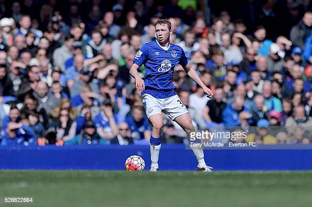 Matthew Pennington of Everton during the Barclays Premier League match between Everton and AFC Bournemouth at Goodison Park on April 30 2016 in...