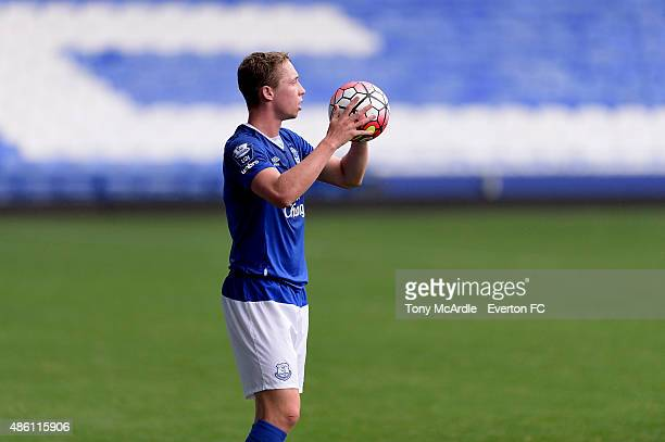 Matthew Pennington of Everton during the Premier League International Cup match between Everton U21 and Tottenham Hotspur U21 on August 31 2015 in...