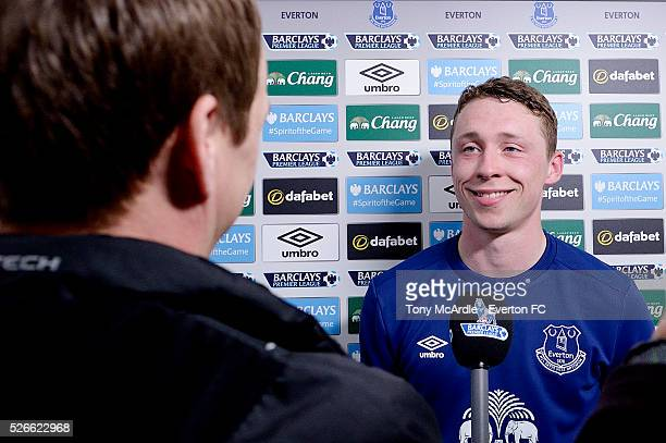 Matthew Pennington of Everton is interviewed after the Barclays Premier League match between Everton and AFC Bournemouth at Goodison Park on April 30...