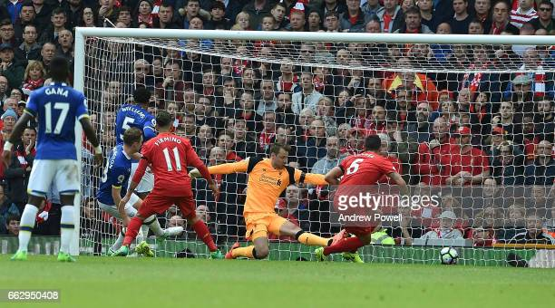 Matthew Pennington scores for Everton during the Premier League match between Liverpool and Everton at Anfield on April 1 2017 in Liverpool England