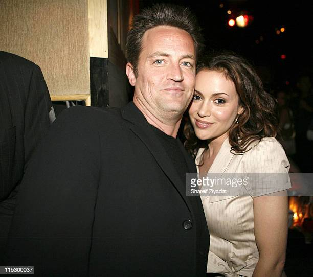 Matthew Perry and Alyssa Milano during Gotham Magazine Party May 16 2006 at Stereo in New York City New York United States