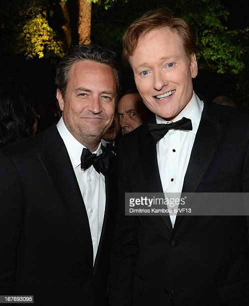 Matthew Perry and Conan O'Brien attend the Bloomberg Vanity Fair cocktail reception following the 2013 WHCA Dinner at the residence of the French...