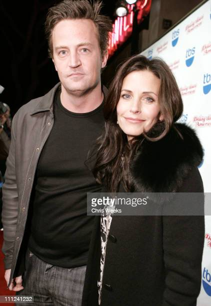 Matthew Perry and Courteney Cox Arquette during Party Celebrating the Premiere of the New TBS Comedy Series 'Daisy Does America' Red Carpet Inside at...