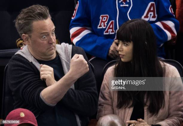 Matthew Perry and guest attend Pittsburgh Penguins Vs New York Rangers game at Madison Square Garden on March 31 2017 in New York City