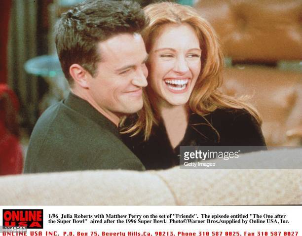 "Matthew Perry and Julia Roberts on the set of ""Friends"" entitled ""The One After the Super-Bowl"" which actually aired after the superbowl"